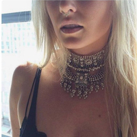 Dvacaman Brand 2016 Fashion Wide Choker Necklace Women Gold Silver Plated Maxi Statement Necklace Party Jewelry