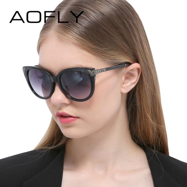AOFLY New Cat Eye Sunglasses Woman Mirror Shades Luxury Brand Designer Sun Glasses Vintage Retro Unique Legs lunette de soleil
