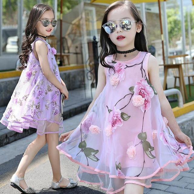 Us 21 98 Organza Gadis Gaun Dengan Floral Mode Musim Panas Gaun Pesta Pernikahan Putri Anak Balita Anak Pakaian Meisjes Kleding Di Dresses Dari Ibu