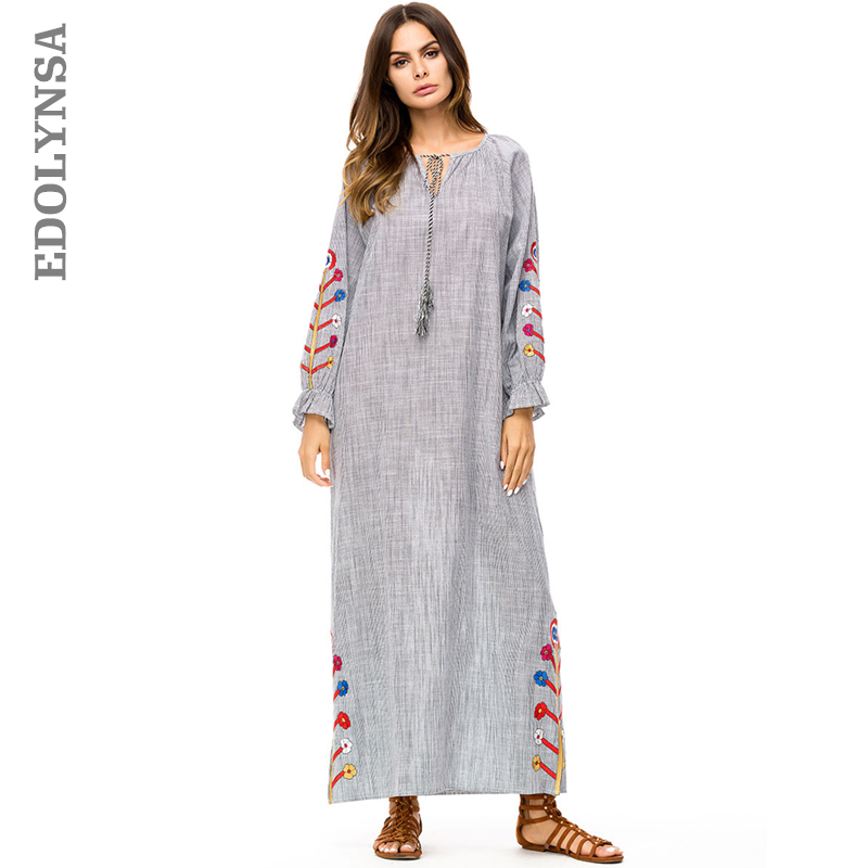Ukraine Grey Embroidery Lace Up Long Sleeve Maxi Dress Plus Size Women Clothes 2018 New Arrival Autumn Winter Kaftan Dress D648