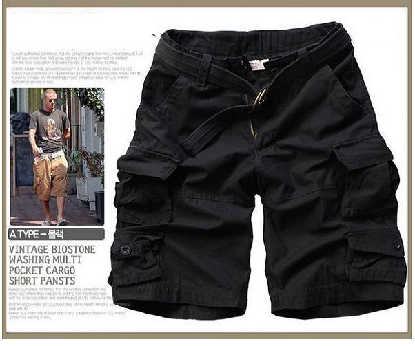 Новинка, Летний стиль, мужские повседневные армейские камуфляжные шорты Карго, хлопковые короткие штаны, военные камуфляжные модные шорты, мужские пляжные шорты - Цвет: Черный