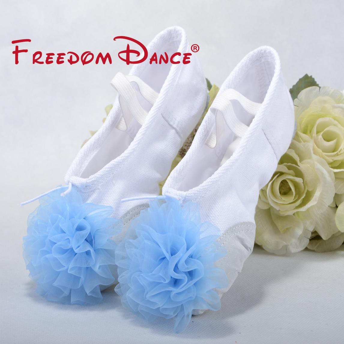 2019 blomster dekoreret lærred split soles piger ballet tøfler bløde børn yoga sko fitness sko børn præstation sko