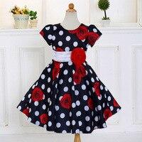 Retail 2017 Summer Baby Girl Dress Big Dot Print Girl Dresses Children Kids Party Dresses With