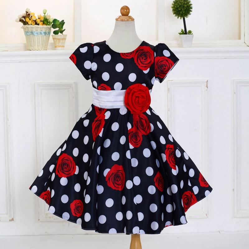 Retail 2018 Summer Baby Girl Dress Big Dot Print Girl Dresses Children Kids Party Dresses With Rose Lovely  LM132