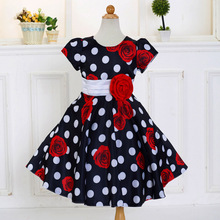 Retail 2018 Summer Baby Girl Dress Big Dot Print Girl Dresses Children Kids Party Dresses With Rose Lovely LM132
