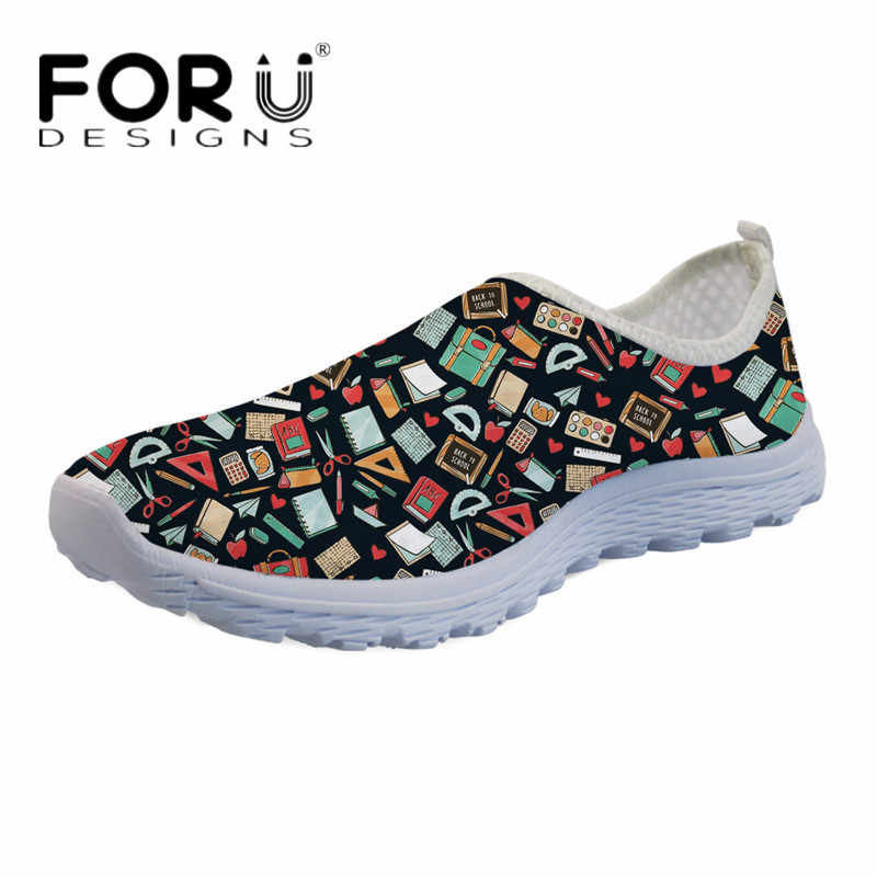 FORUDESIGNS Summer Light Flats Shoes Cartoon Teacher Print Women Breathable Mesh Sneakers Ladies Girls Slip-on Beach Water Shoes