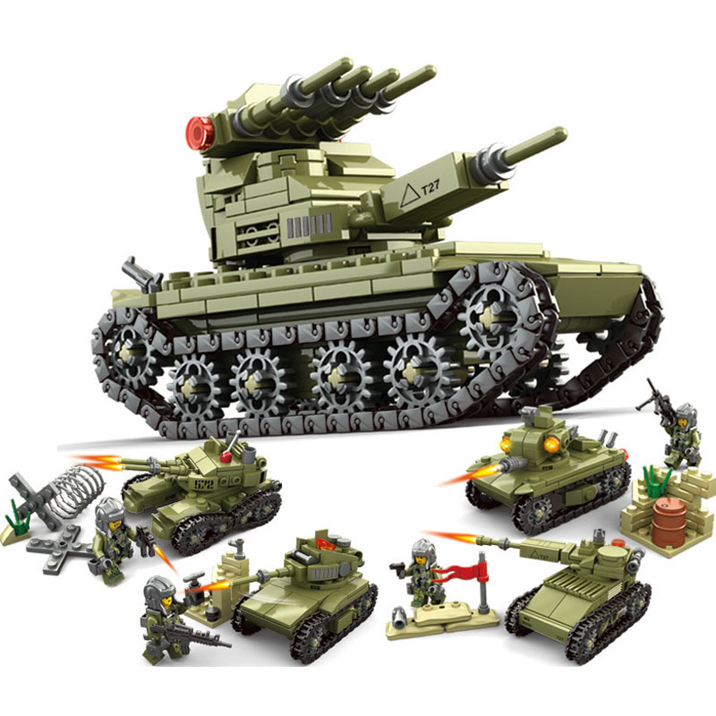 цена на Military Panzer Armored Tank Building Blocks Bricks Set Compatible Legoed army soldier weapon enlighten bricks toys for Children