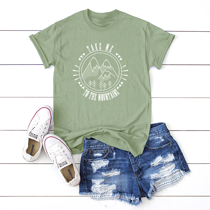 Plus Größe S-5XL Mode Berge Brief Drucken T Shirt Frauen 100% Baumwolle O Hals Kurzarm Sommer T-Shirt Tops Casual t-shirt