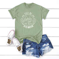Plus Size S-5XL Fashion Mountains Letter Print T Shirt Women 100% Cotton O Neck Short Sleeve Summer T-Shirt Tops Casual TShirt