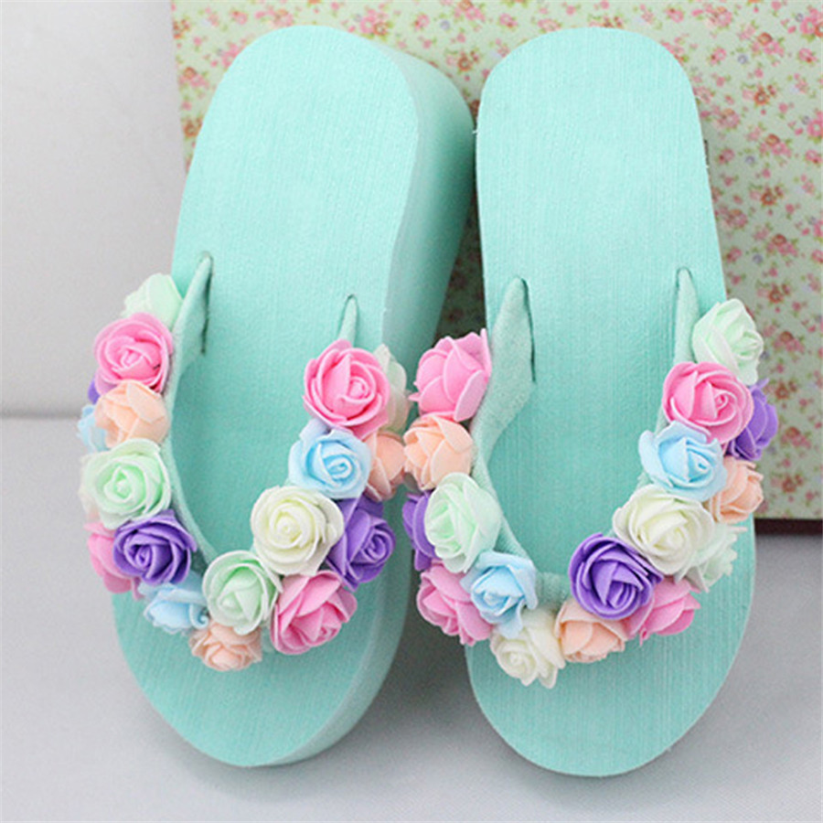 New summer hot sweet seaside sandals fashion soft slippers Waterproof platform handmade flowers high heels slippers Flip flops