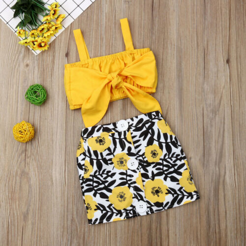 Kids Baby Girls Clothes Sets Yellow Sleeveless Bow Vest Tops Floral Button Skirt Outfits Sunsuit