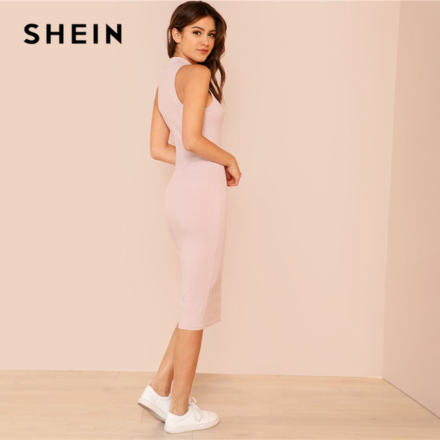 SHEIN Pink Mock Neck Rib Knit Plain Pencil Dress Women Stand Collar Sleeveless Slim Dress 2018 Elegant Going Out Bodycon Dress 1