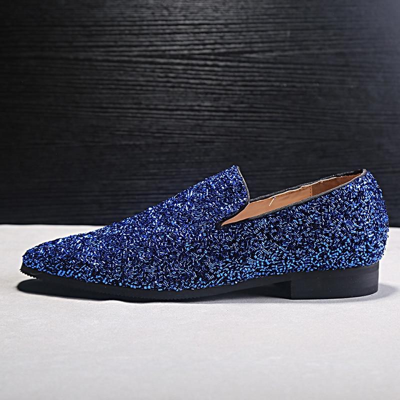 Nieuw Design Heren Casual Schoenen Blauw Bling Lovertjes Crystal - Herenschoenen - Foto 5