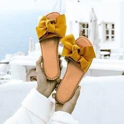 Женские летние шлепанцы с бантиком, летние сандалии, домашние шлепанцы для улицы, пляжная обувь, женская модная обувь 2019