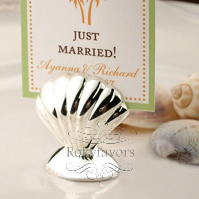 Free Shipping 200pcs Seashell Place Card Holders Beach Wedding
