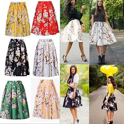 Online Shop 2016 Vintage Retro Floral Printed Women Skirts Midi ...