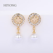 HIYONG 2019 Hot Fashion Elegant Round Gold Earrings Rhinestones Hoop Pearl Earrings Set for Women Jewelry Gifts Alloy Wholesale(China)