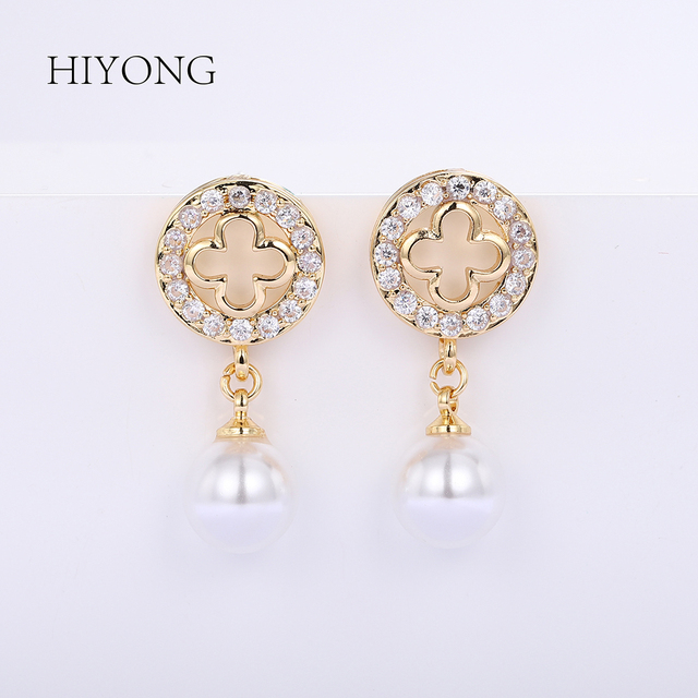 HIYONG 2019 Hot Fashion Elegant Round Gold Earrings Rhinestones Hoop Pearl Earrings Set for Women Jewelry Gifts Alloy Wholesale