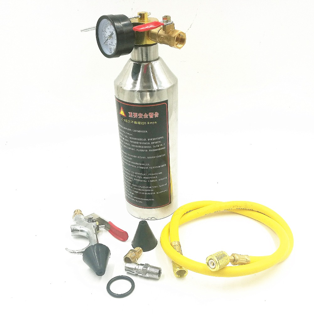 Car air conditioning pipe cleaning bottle A/C Flush Kits Canister for Clean Gun Tool For R134a R12 R22 R410a R404a цена