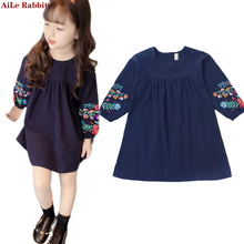 28cdf178ff8 Платья для девочек осень новый Корейская Принцесса платья большие дети  Национальный стиль с длинным рукавом куклы детское платье.