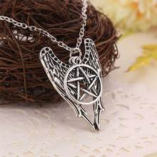 Фотография Supernatural necklace pentagram Pentacle Castiel angel wings vintage antique silver pendant jewelry for men and women wholesale