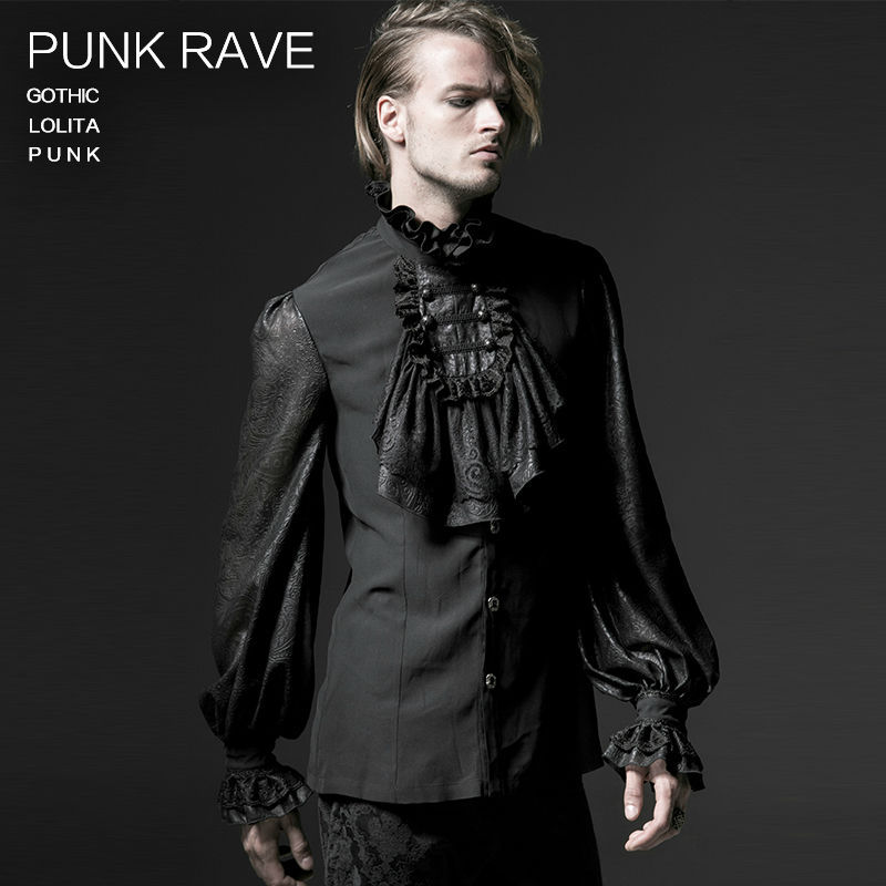 Male Gothic Chiffon Emnossing Shirt Punk rave Fashion Novelty Y522