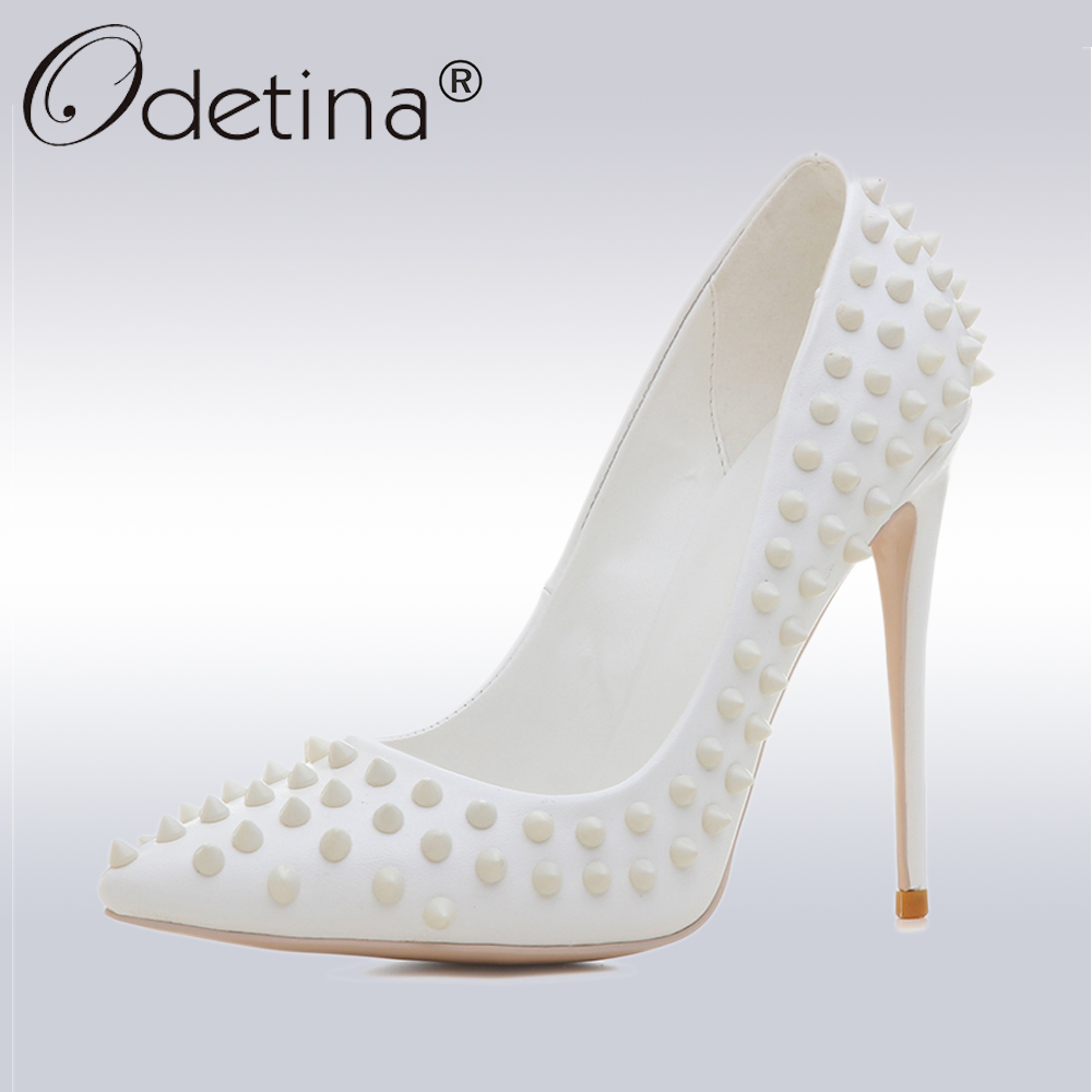 Odetina Sexy Rivet Party Wedding Shoes Women White High Heels Pumps Lady Classic Pointed Toe 12 cm Heels Autumn Nude Shoes women pointed toe high heels white pearls beaded rhinestones striped bridal wedding dress shoes lady elegant party pumps