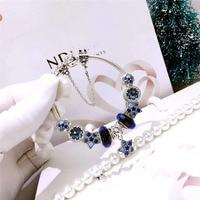 Fits Pandora Jewelry Glamour DIY Women's Jewelry Gift Sterling Silver 925 Ocean Heart Blue Beads Stars Finished Bracelet