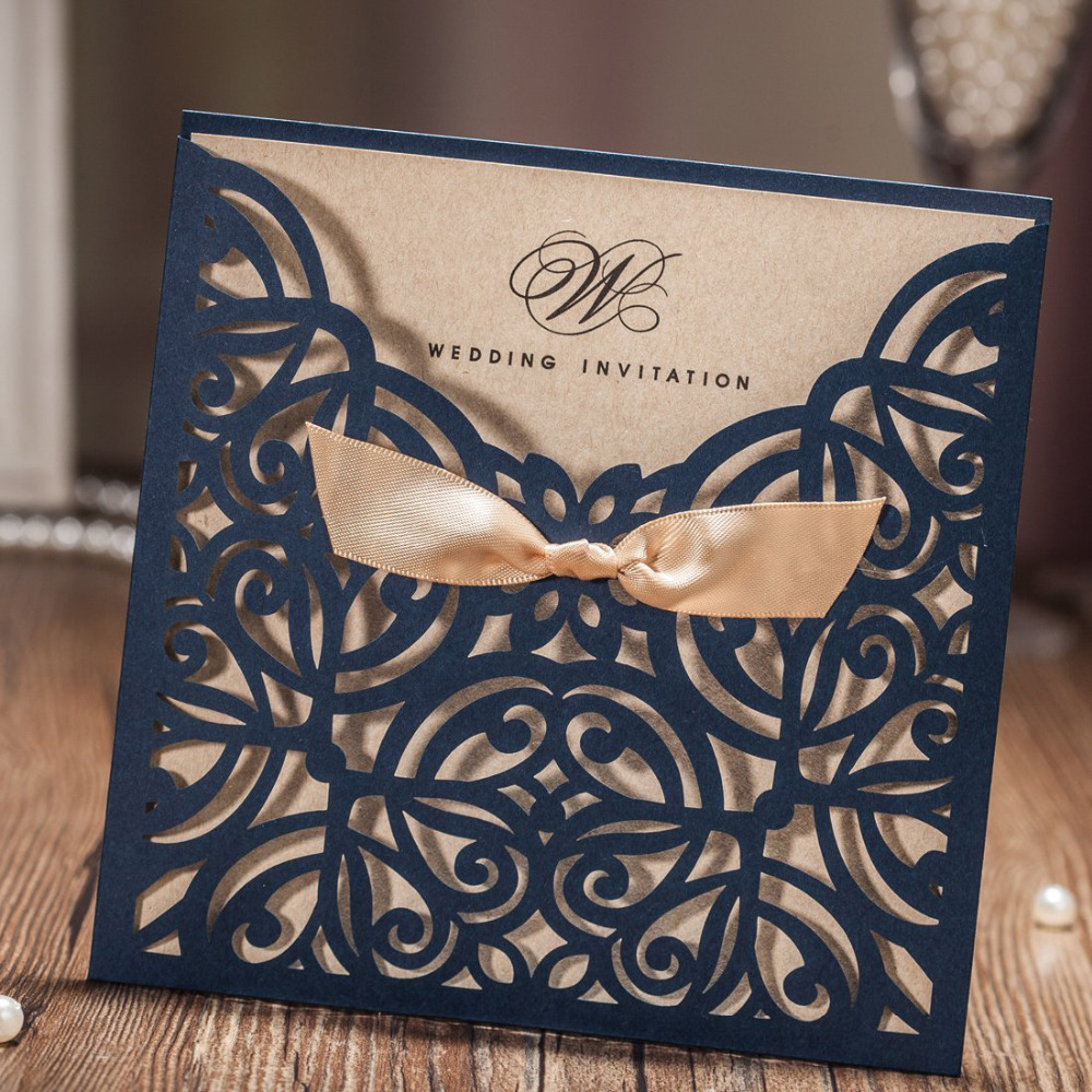2017 New Laser Cut Wedding Invitations Cards With Navy Blue Bowknot