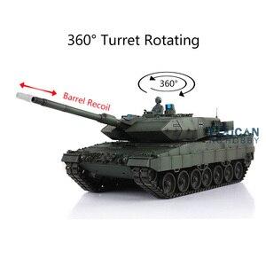 Image 2 - Henglong 1/16 зеленый 6,0 версия инфракрасный боевой Leopard2A6 RC Танк 3889 отдача ствола металлический трек Резина TH12771