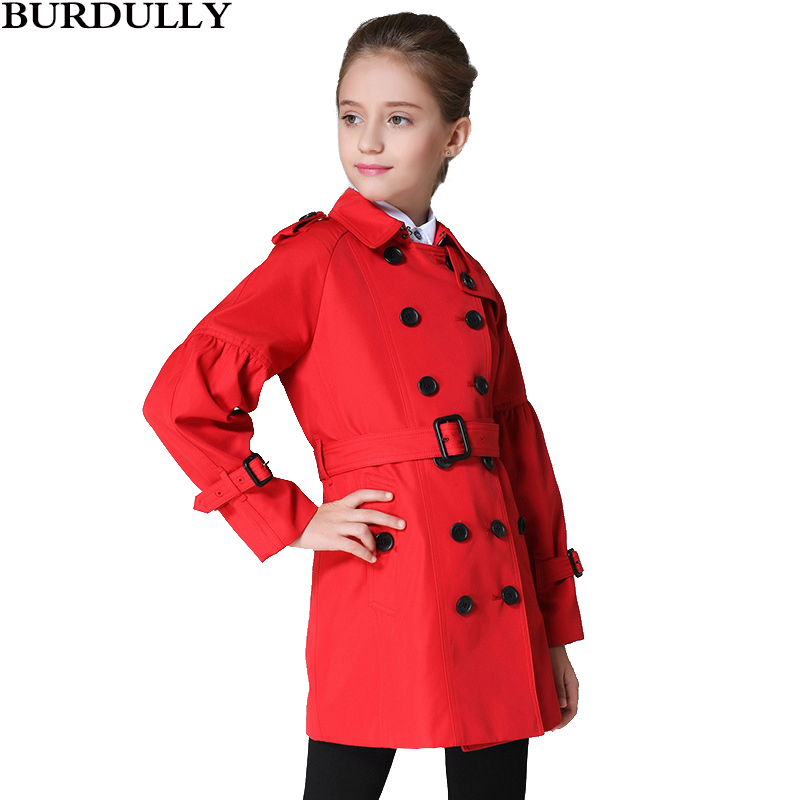 BURBULLY Spring And Autumn Girls Coat Kids Windbreaker children's Long Lapel double-breasted Clothing High Quality stylish lapel long sleeve double breasted plus size coat for women