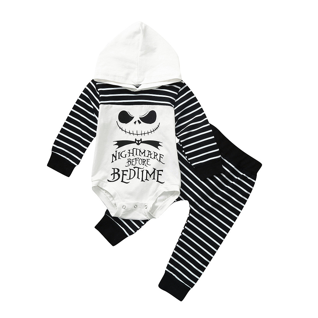 Baby Girl Halloween Clothes Mommys Lil Nightmare Letter Romper Striped Leg Warmer Outfit Set