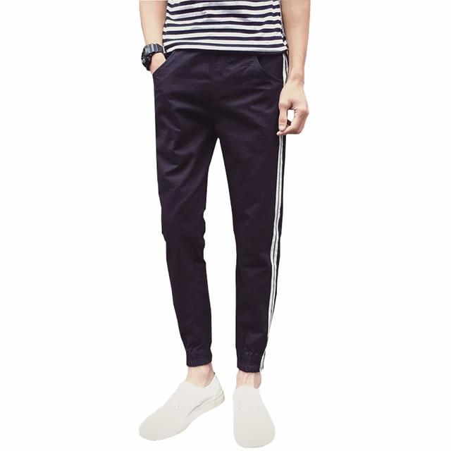 2016 New Arrival Men Sweatshirt New Fashion Spring Men's Casual Pants Cotton Striped Trouser Slim Fit  Male Trousers 5XL