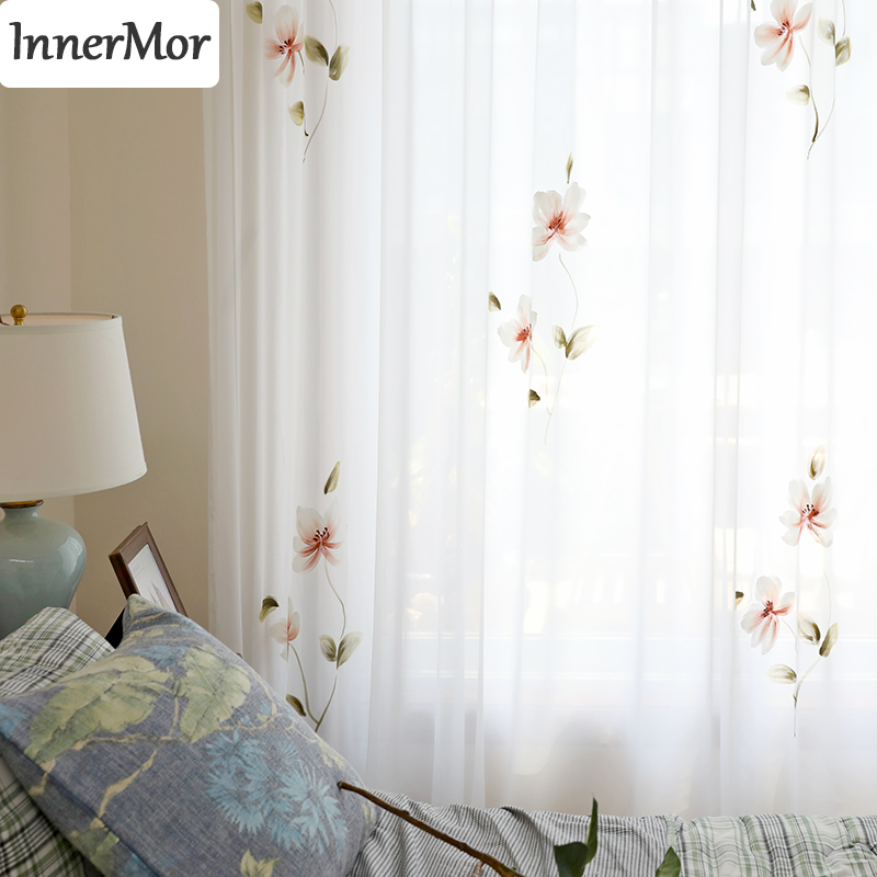 Innermor France painting Curtains For Living room Hand Painted noble curtains for bedroom elegant tulle for