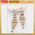 2017 New Korean  Gold Plated Austria Crystal Multicolor Imitation Diamond Wholesale Animal Long Tassel  Earings Wholesale