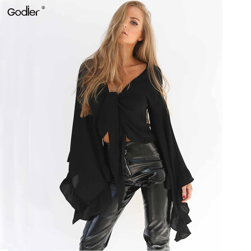 Godier 2018 New sexy women Summer big flare sleeve blouse with bow tie front top lolita short Crop chiffon Shirt Blusa Tops