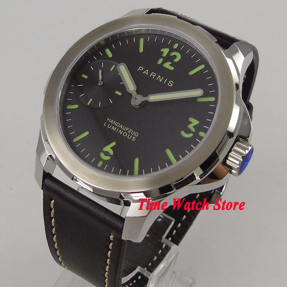 44mm Parnis men's watch sapphire glass green marks 17 jewels mechanical 6497 hand winding movement 985 цена и фото