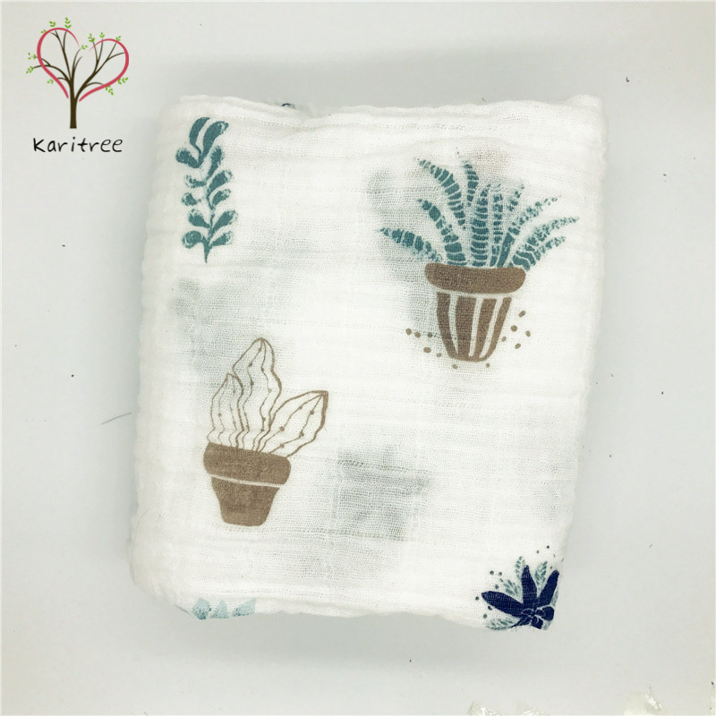 Karitree Baby Muslin Blanket Cotton Muslin Baby Swaddle 120x120cm Blankets Wrap Newborn Soft Kids Bedding Sleeping Blanket Chara