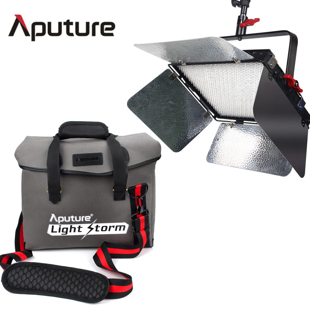 Aputure LS 1S + Messenger Bag Kit CRI 95+ Light Storm Studio Video Light LED Light with 2.4GHz Wireless Remote V-mount Plate aputure ls c120d portable professional studio tlci cri 96 6000k led video light continuous lighting daylight with bowens mount