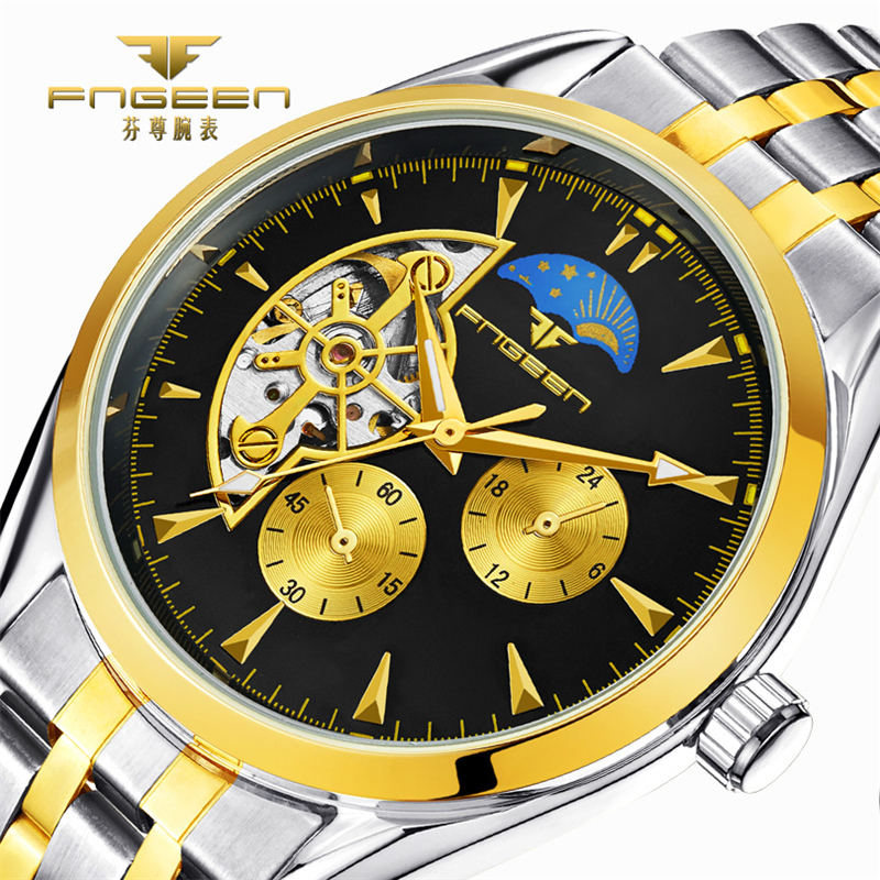 compare prices on accurate watches online shopping buy low price sun moon stars design accurate men skeleton automatic winding mechanical watches stainless steel wristwatch 2017 new