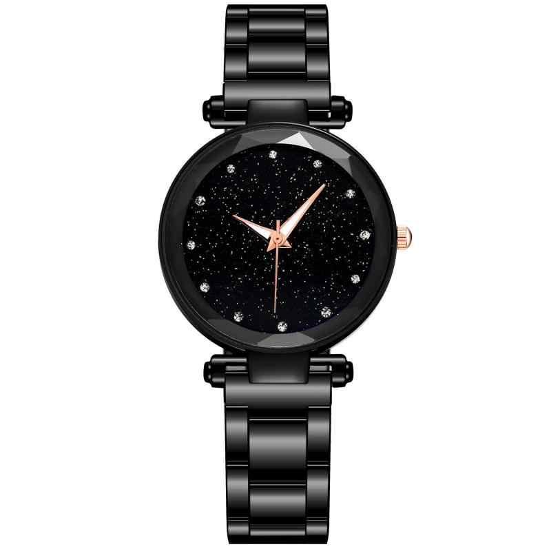 אופנה נשים גבירותיי שעונים רוז זהב נירוסטה בנד קריסטל ריינסטון קוורץ שעון יד אלגנטי צמיד שעון