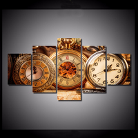 Promotion High Quality 5 Pieces Set Live Clocks Wall Art Paintings Picture Print On Canvas For
