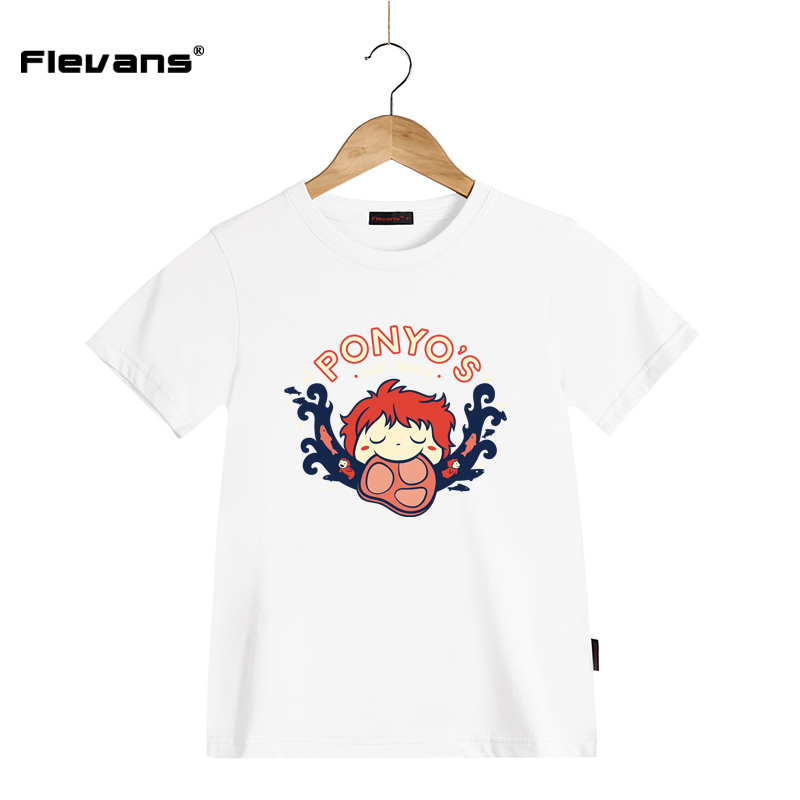 2017 Children Summer Clothing Girls T Shirts Ponyo on The Cliff Cartoon Kids T-shirts Cotton Short Sleeve Kid Casual Tops Tees fashion long sleeve o neck t shirt 2017 new arrival men t shirts tops tees men s cotton t shirts 3colors men t shirts m xxl