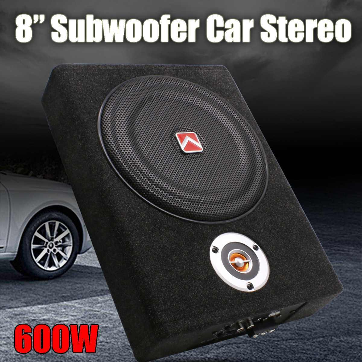 600W 8Inch Car Subwoofers Speaker Bass Horn Subwoofer Car Active Slim Under Seat Speaker Stereo Audio Power Amplifier speakers