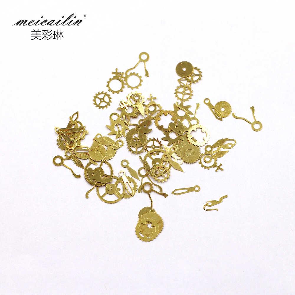 1 תיבה דק פאנק סגנון Rhinestones לציפורניים חתיכים 3D נייל אמנות קישוטי Suplies זהב קיטור גלגלים nailart כלים