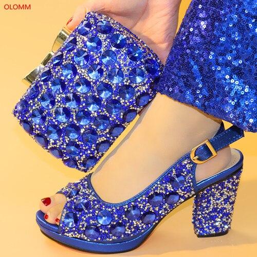 Mode N1 pourpre 31 La or Chaussures Femmes Africain Et Pour Sac Nigérian argent Sac Ensemble Bleues Partie À Nouveau De rose Assorti Olomm Sacs vert Bleu Chaussure H74RTT