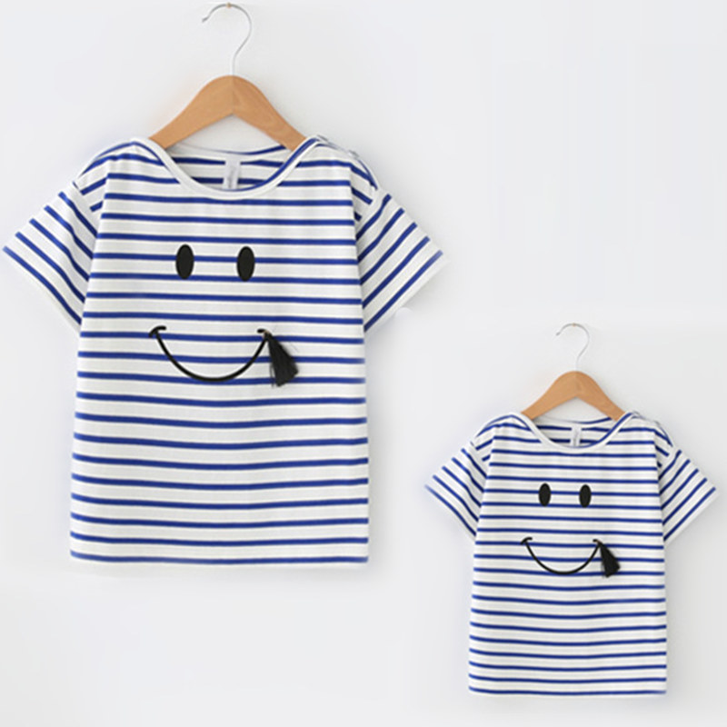 Family Look Stripe Fashion Matching Outfits T-shirt Black Contrast White O Neck Casual T ...