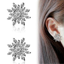 Full Rhinestone Snowflake Stud Earrings Gold Color Silver Lucky Crystal Zircon Snow Flower Earring For Women Fashion Jewelry(China)