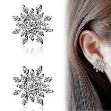 Full Rhinestone Snowflake Stud Earrings Gold Color Silver Lucky Crystal Zircon Snow Flower Earring For Women Fashion Jewelry