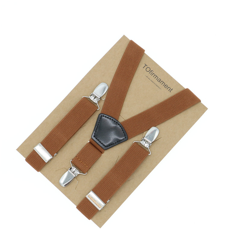 Fan shape leather solid kids clothes suspender adjustable 2.5cm width wedding high quality Y back kraft paper packed gift